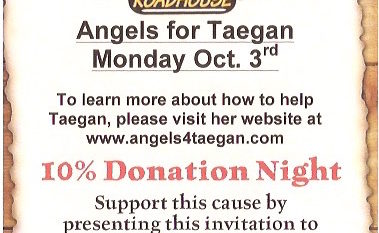 Eat at the Greenwood, Indiana Texas Roadhouse Location - Support Taegan!